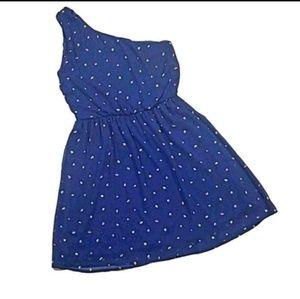 Lush One Shoulder Strap Blue Floral Dress